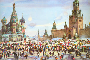 Konstantin Yuon - Palm Sunday Bazaar on Red Square