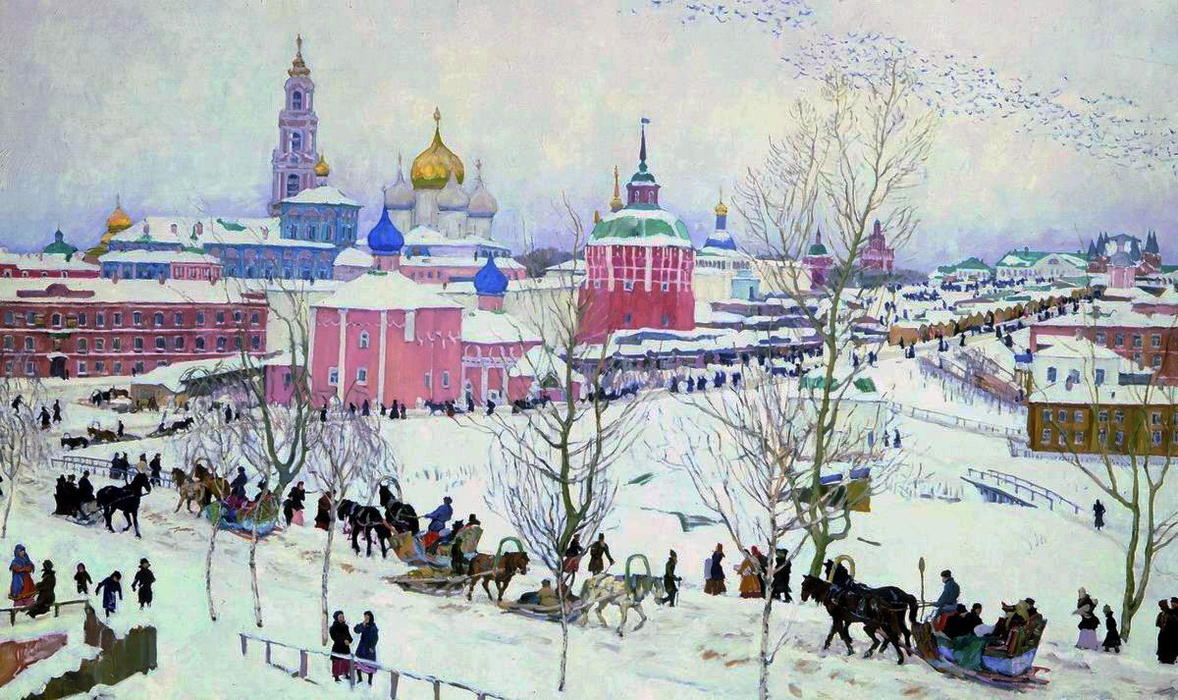 The troitse sergiyev monastery in winter oil on canvas by for Art contemporain russe