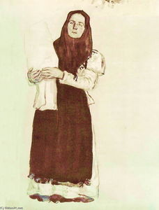 Konstantin Yuon - A young peasant woman in a red scarf