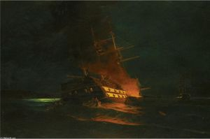 Konstantinos Volanakis - The burning of a Turkish frigate
