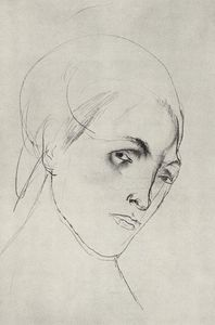 Kuzma Petrov-Vodkin - Sketch of a woman-s head to the picture Mother