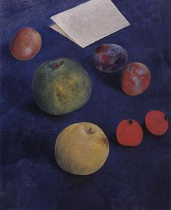 Kuzma Petrov-Vodkin - Fruit on a blue tablecloth