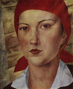 Kuzma Petrov-Vodkin - Girl in red scarf (worker)