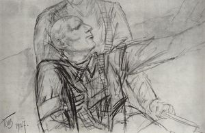 Kuzma Petrov-Vodkin - Drawing for the painting Death of Commissioner