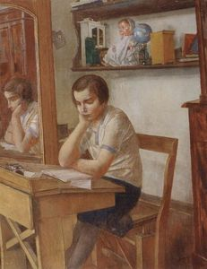 Kuzma Petrov-Vodkin - The girl at the desk