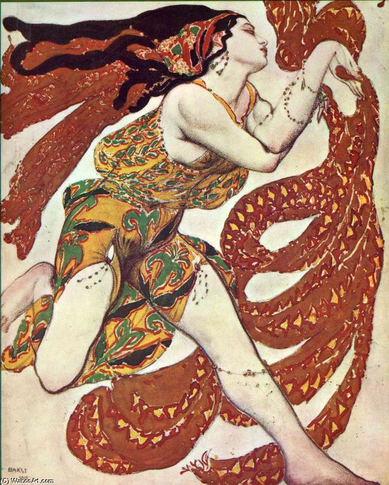 Costume design for a bacchante in `Narcisse` by Tcherepnin, 1911 by Leon Bakst (1866-1924, Belarus) | Painting Copy | WahooArt.com