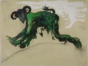 Leon Bakst - Drawing young divinity Narcisse costume, ballet Diaghilev