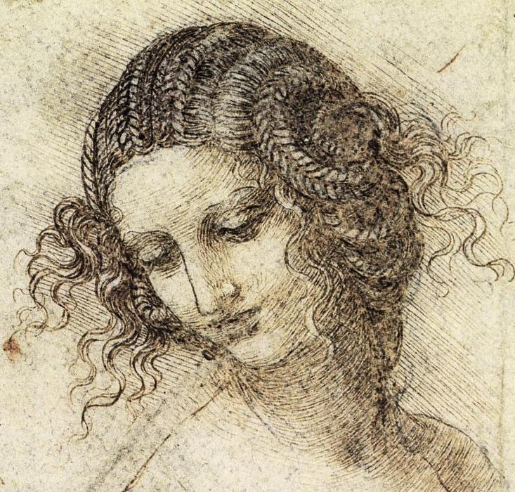 Study for the Head of Leda, Chalk by Leonardo Da Vinci (1452-1519, Italy)