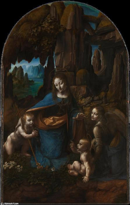 The Virgin of the Rocks, Oil On Panel by Leonardo Da Vinci (1452-1519, Italy)