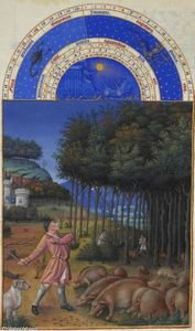 Limbourg Brothers - November: Feeding Acorns to the Pigs