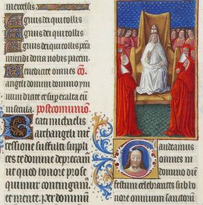 Limbourg Brothers - The Pope and His Cardinals
