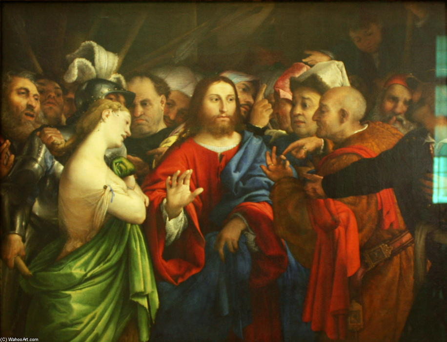 Christ and the Adulteress, 1528 by Lorenzo Lotto (1480-1556, Italy) | Art Reproductions Lorenzo Lotto | WahooArt.com