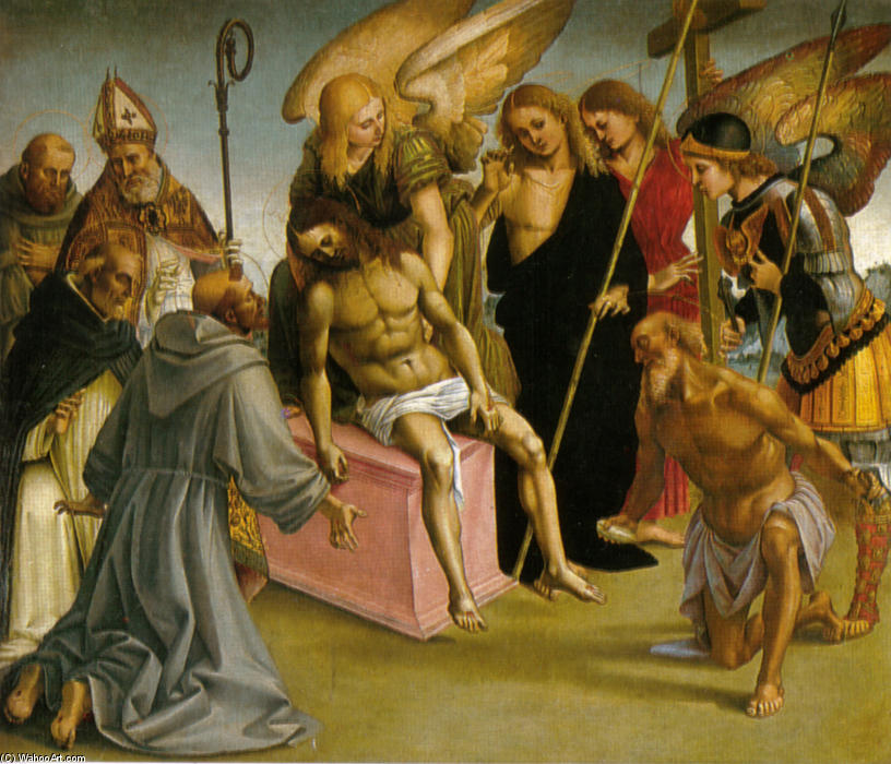 Lamentation over the Dead Christ with Angels and Saints, 1516 by Luca Signorelli (1450-1523, Italy)