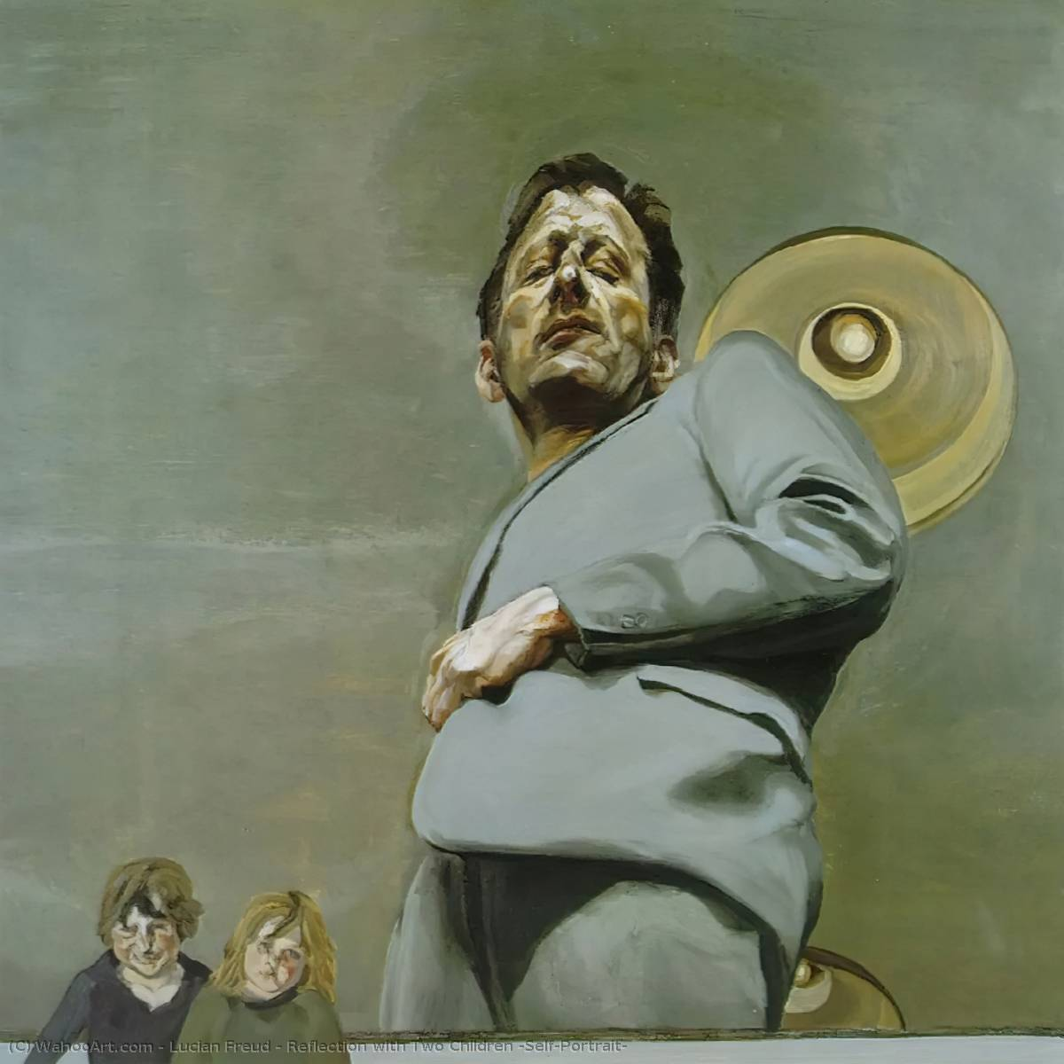 Reflection with Two Children (Self-Portrait), 1965 by Lucian Freud (1922-2011, Germany) |  | WahooArt.com