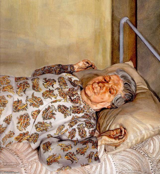 The Painter`s Mother Resting I, 1976 by Lucian Freud (1922-2011, Germany) |  | WahooArt.com