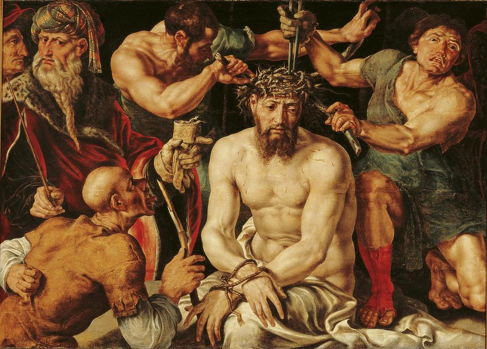 Christ crowned with thorns, 1550 by Maarten Van Heemskerck (1498-1574) | Reproductions Maarten Van Heemskerck | WahooArt.com