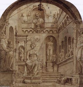 Maarten Van Heemskerck - Sculpture Court of the Casa Sassi in Rome