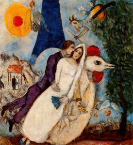 Marc Chagall - The betrothed and Eiffel Tower