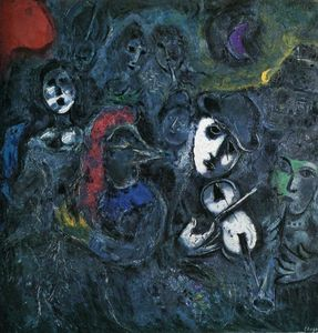 Marc Chagall - The street performers in the night