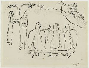 Marc Chagall - Abraham and three Angels