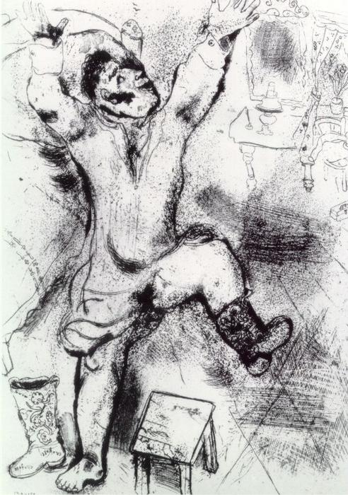 Tchitchikov triumphant, Etching by Marc Chagall (1887-1985, Belarus)
