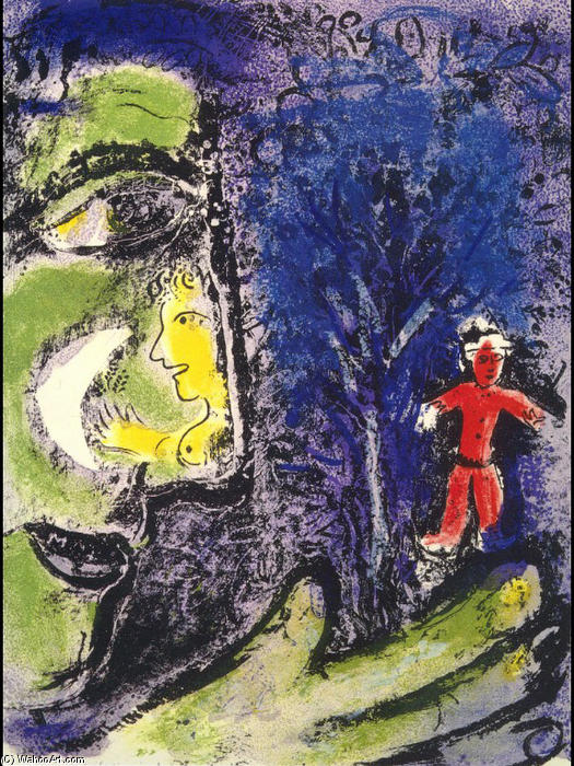 Profile and Red Child, 1960 by Marc Chagall (1887-1985, Belarus) |  | WahooArt.com