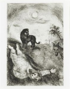 Marc Chagall - Rebellious prophet was killed by a lion (I Kings, XIII, 24 28)