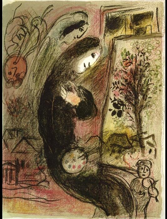 Inspiration, Lithography by Marc Chagall (1887-1985, Belarus)