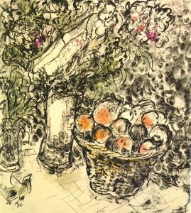 Marc Chagall - Couple and basket with fruits