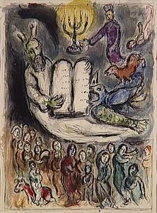 Marc Chagall - Moses called the elders and presents Tablets of Law