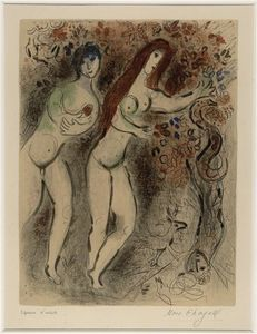Marc Chagall - Adam and Eve with the forbidden fruit