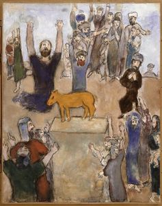 Marc Chagall - The Hebrews adore the golden calf