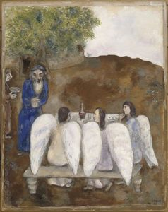 Marc Chagall - Three angels visit Abraham