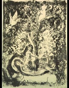 Marc Chagall - Branch and flute-player
