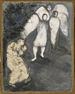 Marc Chagall - Abraham prostrated himself front of three angels