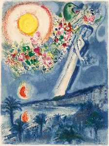 Marc Chagall - Lovers in the sky of Nice
