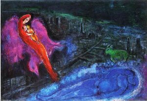 Marc Chagall - Bridges over the Seine