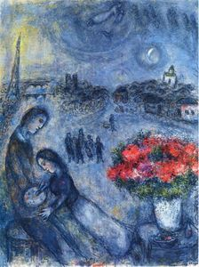 Marc Chagall - Newlyweds with Paris in the Background