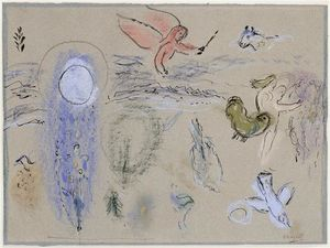 Marc Chagall - Adam and Eve expelled from Paradise