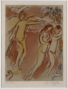 Marc Chagall - Adam and Eve expelled from Paradise Land