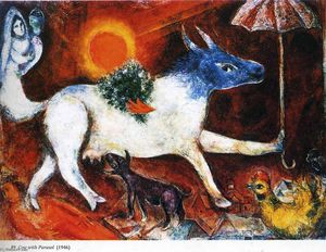 Marc Chagall - Cow with Parasol
