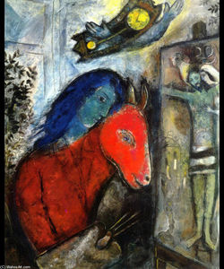 Marc Chagall - Self Portrait with a Clock In front of Crucifixion