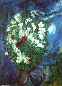 Marc Chagall - Bouquet with flying lovers