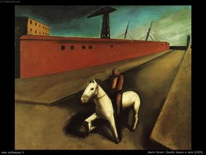 Mario Sironi - White horse and dock