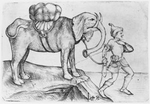 Martin Schongauer - The elephant and his trainer