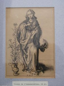 Martin Schongauer - Engraving on copper of the Annunciation