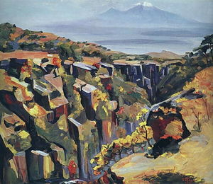 Martiros Saryan - Cliff in the slope of Aragats