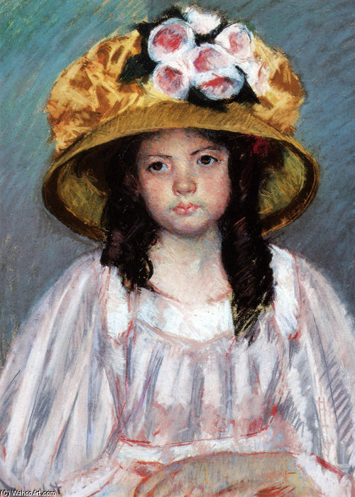 Girl In Large Hat, Pastel by Mary Stevenson Cassatt (1844-1926, United States)