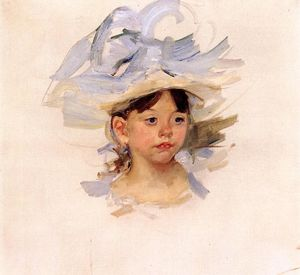 Mary Stevenson Cassatt - Sketch of Ellen My Cassatt in a Big Blue Hat