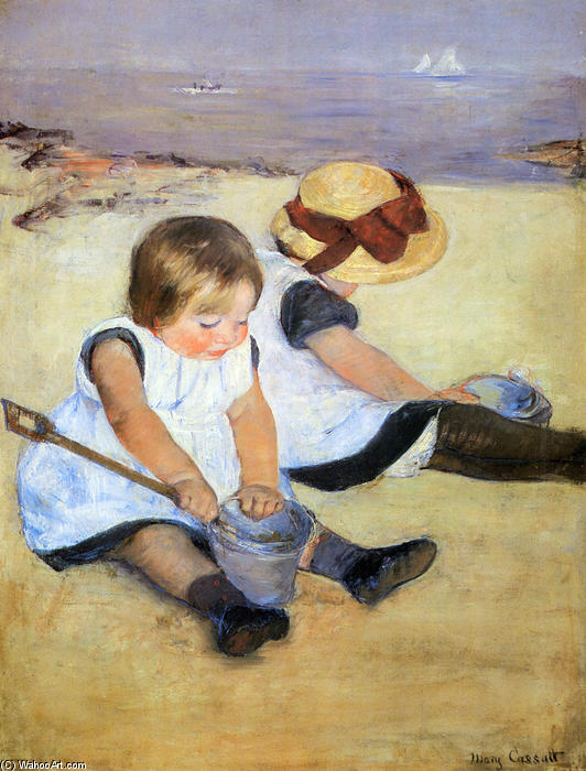 Children Playing On The Beach, Oil On Canvas by Mary Stevenson Cassatt (1843-1926, United States)
